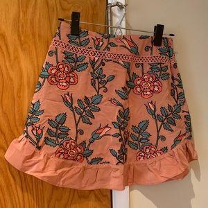 For Love and Lemons pink floral mini skirt